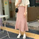 skirt Summer 2021 Average size Orange, blue Mid length dress commute High waist A-line skirt Broken flowers Type A 18-24 years old W0417 30% and below other Other / other Korean version