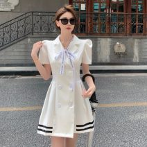 Dress Summer 2021 Black dress with ribbon bow, white dress with ribbon bow S, M Short skirt singleton  Short sleeve commute tailored collar High waist Solid color double-breasted A-line skirt routine Others 18-24 years old Type A Other / other Korean version 0418M 31% (inclusive) - 50% (inclusive)
