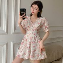 Dress Spring 2021 Pink flowers, green flowers S, M Short skirt singleton  Short sleeve commute V-neck High waist Broken flowers Socket A-line skirt puff sleeve Others 18-24 years old Type A Other / other Korean version W0309 31% (inclusive) - 50% (inclusive) other