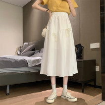 skirt Summer 2021 S,M,L White, black Mid length dress commute High waist A-line skirt Type A 18-24 years old 0407L 30% and below other Other / other Korean version