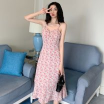 Dress Summer 2021 Broken flowers S,M,L Mid length dress singleton  Sleeveless commute V-neck High waist Broken flowers Socket A-line skirt camisole 18-24 years old Type A Other / other Korean version W0418 30% and below other other