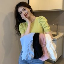 T-shirt White, blue, black, lime green, skin pink Average size Spring 2021 Short sleeve Crew neck Self cultivation have cash less than that is registered in the accounts puff sleeve commute other 30% and below 18-24 years old Korean version Solid color Other / other W0402