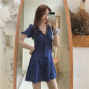 Dress Summer 2021 blue Average size Short skirt singleton  Short sleeve commute V-neck puff sleeve Others 18-24 years old Other / other Korean version 0414L 30% and below other
