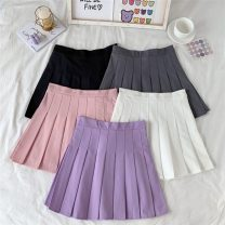 skirt Summer 2021 S,M,L Short skirt commute High waist Pleated skirt Solid color Type A 18-24 years old 0415Y 31% (inclusive) - 50% (inclusive) Other / other Korean version