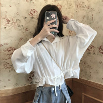 shirt Average size Spring 2021 other 30% and below Long sleeves commute Short style (40cm < length ≤ 50cm) routine Solid color 18-24 years old Straight cylinder Korean version