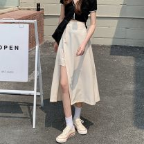 skirt Summer 2021 Average size Apricot, black Mid length dress commute High waist A-line skirt Solid color Type A 18-24 years old W0406 30% and below other Other / other other Button Korean version
