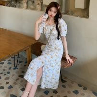 Dress Summer 2021 Picture color S, M Mid length dress singleton  Short sleeve commute V-neck High waist Broken flowers zipper A-line skirt puff sleeve Others 18-24 years old Type A Other / other Korean version Pleating W0415 30% and below other other