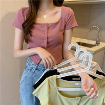 T-shirt Average size Spring 2021 Short sleeve square neck Self cultivation have cash less than that is registered in the accounts commute other 31% (inclusive) - 50% (inclusive) 18-24 years old Korean version Other / other 0403Y