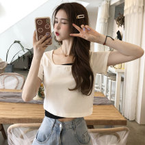 T-shirt White, black M,L,XL Summer 2021 Short sleeve Self cultivation have cash less than that is registered in the accounts commute other 30% and below 18-24 years old Korean version Other / other 0417L