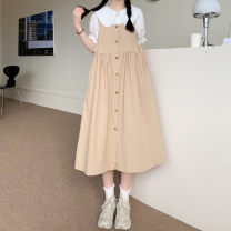 Dress Summer 2021 White shirt piece, blue shirt piece, apricot strap skirt piece, black strap skirt piece Average size Mid length dress singleton  Sleeveless commute High waist Single breasted Big swing straps 18-24 years old Type A Other / other Korean version 0417Y 30% and below other