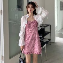 Dress Summer 2021 Cardigan, suspender skirt Average size Short skirt Two piece set Sleeveless commute High waist Broken flowers Socket A-line skirt camisole 18-24 years old Type A Other / other Korean version W0410 30% and below other