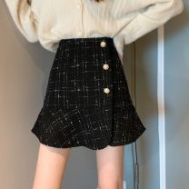 skirt Autumn 2020 S,M,L Apricot, black Short skirt commute High waist A-line skirt Type A 18-24 years old 30% and below other Other / other other Korean version