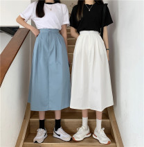 skirt Spring 2021 Average size White, blue Mid length dress commute High waist A-line skirt Solid color Type A 18-24 years old 0402Y 30% and below other Other / other Button Korean version