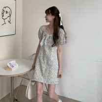 Dress Spring 2021 Yellow flower S, M Short skirt singleton  Short sleeve commute High waist Socket A-line skirt puff sleeve 18-24 years old Type A Other / other Korean version 0326Y 31% (inclusive) - 50% (inclusive)