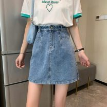 skirt Summer 2021 S,M,L,XL Picture color Short skirt commute High waist A-line skirt Solid color Type A 18-24 years old W0412 30% and below other Other / other Korean version