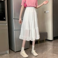 skirt Summer 2021 Average size White, black Mid length dress commute High waist A-line skirt Solid color Type A 18-24 years old W0410 30% and below other Other / other other Splicing Korean version