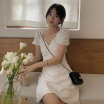 Dress Spring 2021 white S, M Middle-skirt singleton  Short sleeve commute V-neck High waist Socket A-line skirt puff sleeve 18-24 years old Type A Other / other Korean version Frenulum 0325Y 31% (inclusive) - 50% (inclusive)