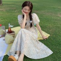 Dress Summer 2021 Off white, blue Average size Mid length dress singleton  Short sleeve commute square neck High waist Broken flowers Socket Big swing puff sleeve Others 18-24 years old Type A Other / other Korean version W0417 30% and below other