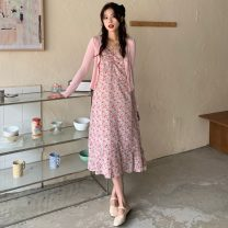 Dress Spring 2021 Pink dress, yellow dress, pink dress, yellow dress S. M, l, average size Mid length dress Two piece set Sleeveless commute V-neck High waist Broken flowers zipper A-line skirt camisole 18-24 years old Type A Other / other Korean version W0330 31% (inclusive) - 50% (inclusive) other