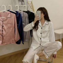 Pajamas / housewear set female Other / other M,L,XL,XXL other Long sleeves Simplicity pajamas autumn routine Small lapel trousers juvenile 2 pieces Less than 20% other