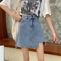 skirt Summer 2021 S,M,L,XL Blue, black Short skirt commute High waist Denim skirt Solid color Type A 18-24 years old 0403@ 71% (inclusive) - 80% (inclusive) Denim cotton Korean version