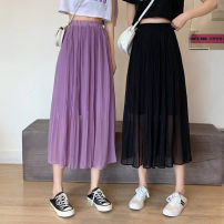skirt Spring 2021 Average size White, purple, black Mid length dress commute High waist A-line skirt Type A 18-24 years old 0318L 30% and below other Other / other Korean version