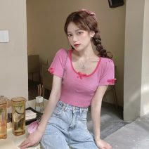 T-shirt White, blue, black, pink Average size Short sleeve Crew neck Self cultivation have cash less than that is registered in the accounts routine commute other 31% (inclusive) - 50% (inclusive) 18-24 years old Korean version Solid color Other / other
