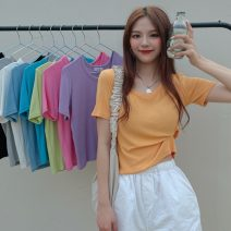 T-shirt Gray, white, blue, black, orange, taro purple, fruit green, haze blue Average size Summer 2021 Short sleeve Crew neck Self cultivation have cash less than that is registered in the accounts routine commute other 31% (inclusive) - 50% (inclusive) 18-24 years old Korean version Solid color