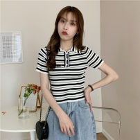 T-shirt Purple, black Average size Summer 2021 Short sleeve Polo collar Self cultivation have cash less than that is registered in the accounts commute other 30% and below 18-24 years old Korean version Thick horizontal stripe Other / other 0417L