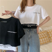 T-shirt Black two-piece set, white two-piece set Average size Summer 2021 Short sleeve Crew neck easy have cash less than that is registered in the accounts commute other 31% (inclusive) - 50% (inclusive) 18-24 years old Korean version Other / other 0414Y