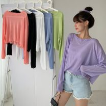 T-shirt White, purple, green, blue, black, pink Average size Spring 2021 Long sleeves Crew neck easy have cash less than that is registered in the accounts routine commute other 31% (inclusive) - 50% (inclusive) 18-24 years old Korean version Solid color Other / other W0313