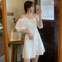 Dress Summer 2021 White, light yellow S, M Short skirt singleton  Short sleeve commute One word collar Others 18-24 years old Other / other Korean version 0418L 30% and below other