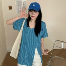 T-shirt blue Average size Spring 2021 Short sleeve Crew neck Straight cylinder Medium length routine commute other 31% (inclusive) - 50% (inclusive) 18-24 years old Korean version Thin horizontal stripe Other / other W0402