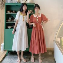 Dress Spring 2021 White, red, watermelon red Average size Mid length dress singleton  Short sleeve commute square neck High waist Solid color A-line skirt puff sleeve Others 18-24 years old Type A Other / other Korean version Frenulum 0403Y 31% (inclusive) - 50% (inclusive) other