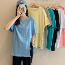 T-shirt Light blue, white, yellow, black, lake green, pink, ash Average size Summer 2021 Short sleeve Crew neck easy Medium length routine commute other 30% and below 18-24 years old Korean version Solid color Other / other 0417Y