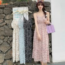 Dress Summer 2021 Sky blue, apricot, pink, black Average size Mid length dress singleton  Sleeveless commute V-neck High waist Broken flowers Socket A-line skirt camisole 18-24 years old Type A Other / other Korean version 0411Y 31% (inclusive) - 50% (inclusive)