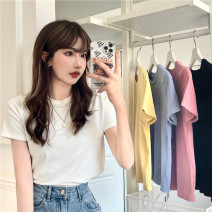 T-shirt White, blue, yellow, black, pink Average size Spring 2021 Short sleeve Crew neck easy Regular routine commute other 31% (inclusive) - 50% (inclusive) 18-24 years old Korean version Other / other 0317Y