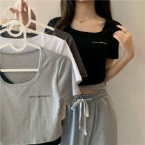 T-shirt Light grey, dark grey, white, black Average size Spring 2021 Short sleeve Crew neck Fake two pieces have cash less than that is registered in the accounts routine commute other 30% and below 18-24 years old Korean version Other / other 0310Y