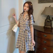 Dress Spring 2021 Picture color S,M,L Short skirt singleton  Short sleeve commute tailored collar lattice Others 18-24 years old Other / other Korean version 0403L 30% and below other other