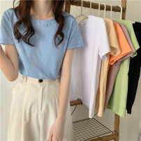 T-shirt White, green, blue, yellow, black, orange, lotus root pink Average size Summer 2021 Short sleeve Crew neck Straight cylinder Regular commute other 30% and below 18-24 years old Korean version Other / other 0412L