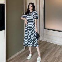 Dress Spring 2021 stripe Average size Mid length dress singleton  Short sleeve commute Crew neck High waist stripe Socket A-line skirt routine Others 18-24 years old Type A Other / other Korean version 0329Y 30% and below other