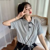 T-shirt Gray, white, purple M,L,XL Summer 2021 Short sleeve Polo collar easy have cash less than that is registered in the accounts commute other 30% and below 18-24 years old Korean version Other / other 0417L