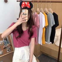 T-shirt Gray, white, yellow, black, pink, rose pink Average size Spring 2021 Short sleeve Crew neck easy have cash less than that is registered in the accounts routine commute other 30% and below 18-24 years old Korean version Solid color Other / other W0310