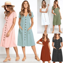 Dress Summer 2020 S,M,L,XL,2XL,3XL Middle-skirt singleton  Short sleeve commute V-neck High waist Solid color Socket A-line skirt routine Others 25-29 years old Type A literature 51% (inclusive) - 70% (inclusive) knitting cotton