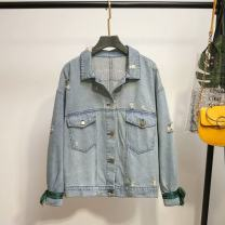 Women's large Autumn 2020 blue Large XL, large XXL, large XXL, large XXXXL, large XXXXL Jacket / jacket singleton  commute moderate Cardigan Long sleeves Korean version Denim Three dimensional cutting dnh----1692 25-29 years old