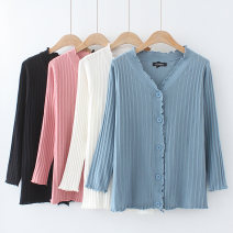 Women's large Spring 2021 Large XL, large XXL, large XXL, large XXXXL, large XXXXL Knitwear / cardigan singleton  commute Self cultivation moderate Cardigan Nine point sleeve Solid color Korean version V-neck routine cotton Three dimensional cutting routine 18-24 years old Button