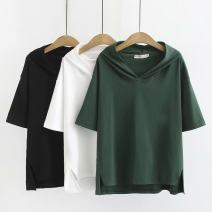 Women's large Summer of 2019 White, black, green Large XL, large XXL, large XXL, large XXXXL, large XXXXL T-shirt singleton  commute easy thin Socket Short sleeve Solid color Korean version routine cotton Three dimensional cutting by829 25-29 years old 96% and above