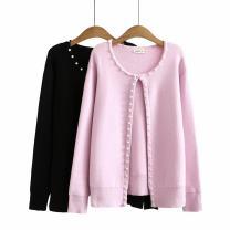 Women's large Autumn 2020 Black, pink Big XXL, big XXXL, big XXXXL sweater singleton  commute moderate Cardigan Long sleeves Korean version Three dimensional cutting GL---0171 25-29 years old