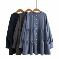 Women's large Spring 2021 Large XL, large XXL, large XXL shirt singleton  commute easy moderate Cardigan Long sleeves Solid color Korean version Crew neck Medium length cotton Three dimensional cutting routine 25-29 years old Button longuette