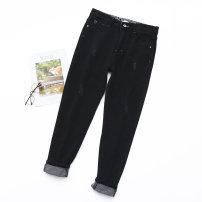 Women's large Autumn 2020 black 30,32,34,36,38 trousers singleton  commute moderate Korean version Denim Three dimensional cutting fy-----205 25-29 years old Ninth pants